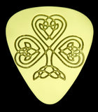 CELTIC HEART SHAMROCK - Solid Brass Guitar Pick Acoustic, Electric, Bass, Mandolin