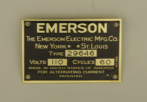 EMERSON 29646 - Brass Motor Tag Reproduction