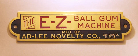 E-Z BALL GUM, AD-LEE NOVELTY CO - Coin Operated Gumball, Brass Tag Reproduction