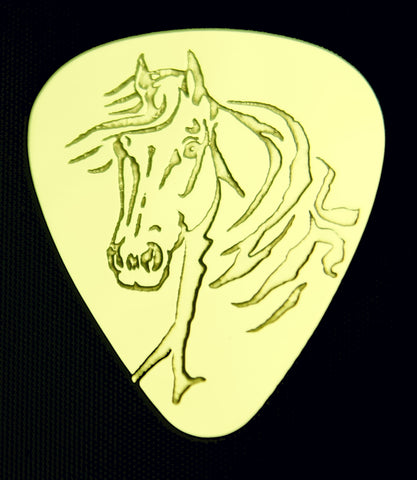 HORSE - Solid Brass Guitar Pick, Acoustic, Electric, Bass