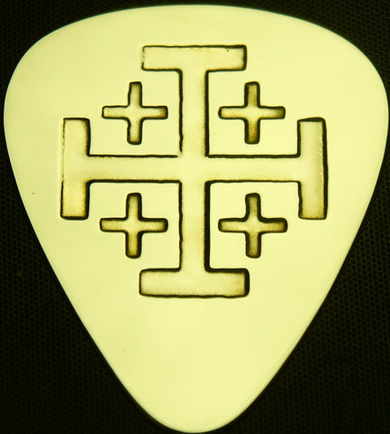 JERUSALEM CROSS - Solid Brass Guitar Pick<br>Acoustic, Electric, Bass, Mandolin