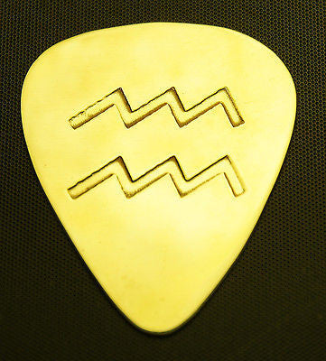 ZODIAC - AQUARIUS - Solid Brass Guitar Pick, Acoustic, Electric, Bass