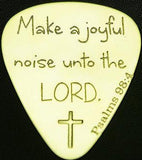 PSALMS 98:4 - Solid Brass Guitar Pick, Acoustic, Electric