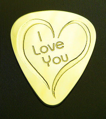 I LOVE YOU - Solid Brass Guitar Pick<br>Acoustic, Electric, Bass, Mandolin