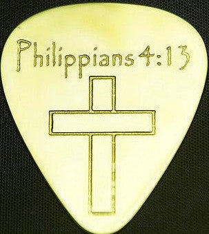 PHILIPPIANS  4:13 - Solid Brass Guitar Pick, Acoustic, Electric, Bass