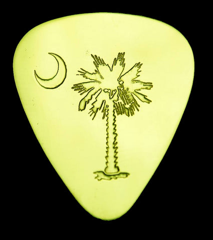Palmetto and Crescent Moon-South Carolina - Solid Brass Guitar Pick Acoustic, Electric, Bass