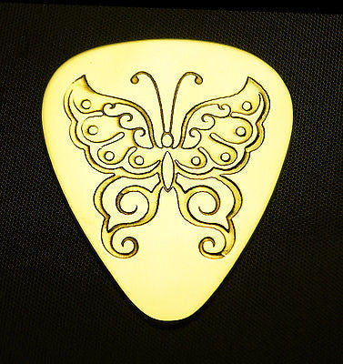 BUTTERFLY - Solid Brass Guitar Pick<br>Acoustic, Electric, Bass, Mandolin