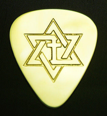 STAR OF DAVID with CROSS- Solid Brass Guitar Pick, Acoustic, Electric, Bass