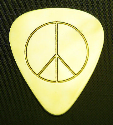 PEACE SIGN - Solid Brass Guitar Pick, Acoustic, Electric, Bass