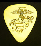 US MARINE CORPS - Solid Brass Guitar Pick, Acoustic, Electric, Bass