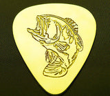 BASS  FISHING - Solid Brass Guitar Pick<br>Acoustic, Electric, Bass, Mandolin