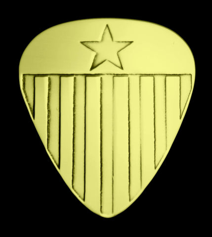 US Flag - America - Solid Brass Guitar Pick, Acoustic, Electric, Bass