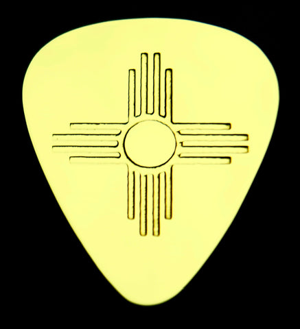 ZIA - SUN SYMBOL - NEW MEXICO Solid Brass Guitar Pick Acoustic, Electric, Bass, Mandolin