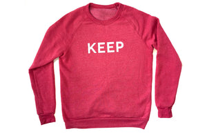 KEEP SWEATSHIRT Red Heather Raglan Block Logo - Keep Company