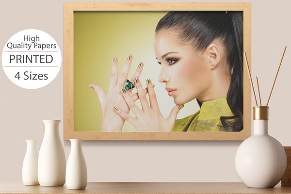 PRINTED POSTER - Beauty Salon Room Wall Decor Print Unframed - Face Gold Nails