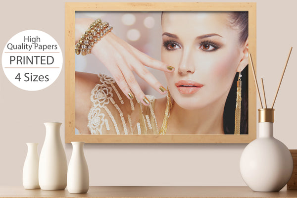 PRINTED POSTER - Beauty Salon Room Wall Decor Print Unframed - Face Gold