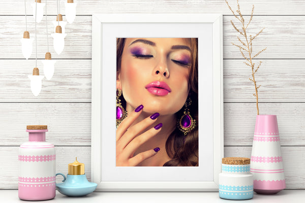PRINTED POSTER - Beauty Salon Room Wall Decor Print Unframed - Purple Face
