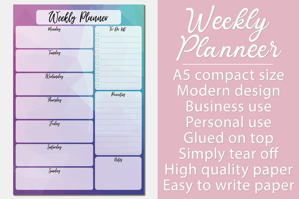 Weekly Planner Notepad A5 To Do Tear Off Memo Pad Organiser