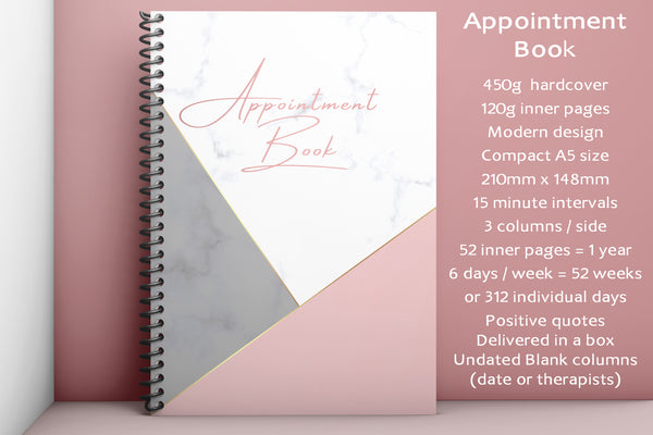 A5 Undated Appointment Book for Beauty Salons Therapists 3 Columns Beauty Nail Massage