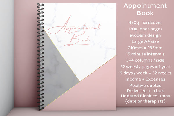 A4 Undated Appointment Pink Marble Book for Beauty Salons Therapists 4 Columns Income Expenses Calendar