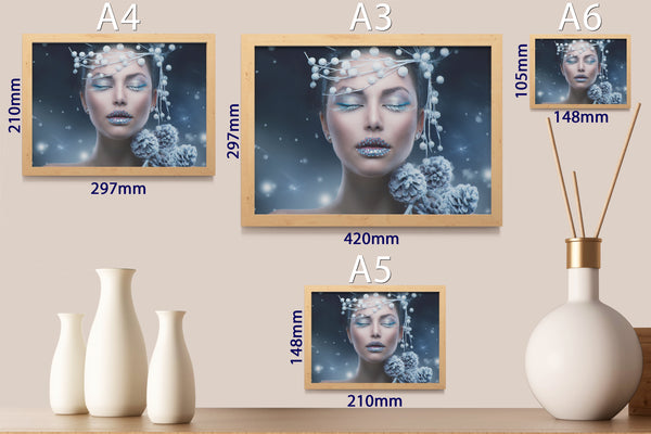PRINTED POSTER - Beauty Salon Room Wall Decor Print Unframed - Winter Face