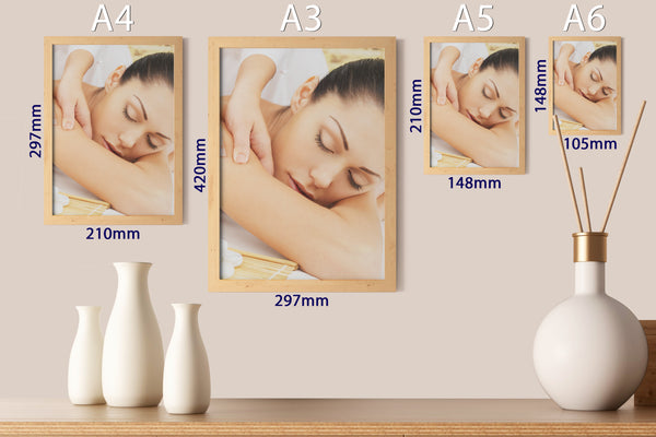 PRINTED POSTER - Beauty Salon Room Wall Decor Print Unframed - Massage Yellow
