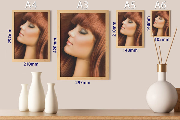 PRINTED POSTER - Beauty Salon Room Wall Decor Print Unframed - Red Hair
