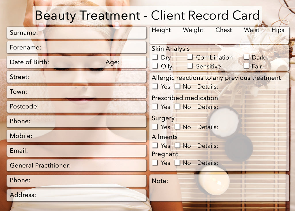 NEW Beauty Client Card / Treatment Consultation Card / Photo Background