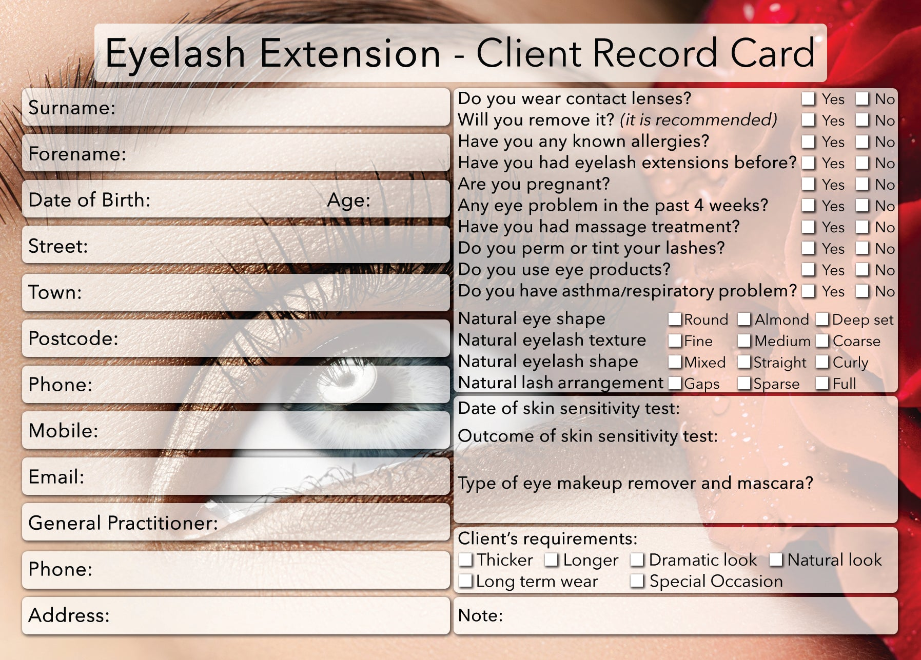 NEW Eyelash Extension Client Card / Treatment Consultation Card / Photo Background