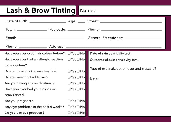 Lash & Brow Tinting Client Card Premium Paper - GDPR Compliant