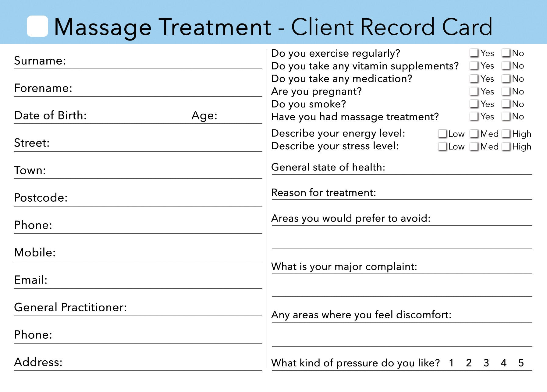 massage client card    treatment consultation card  u2013 beauty