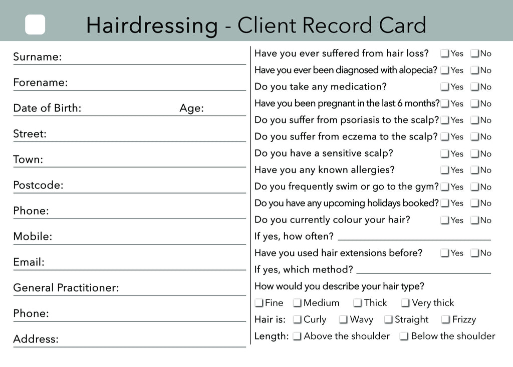 hairdressing client card