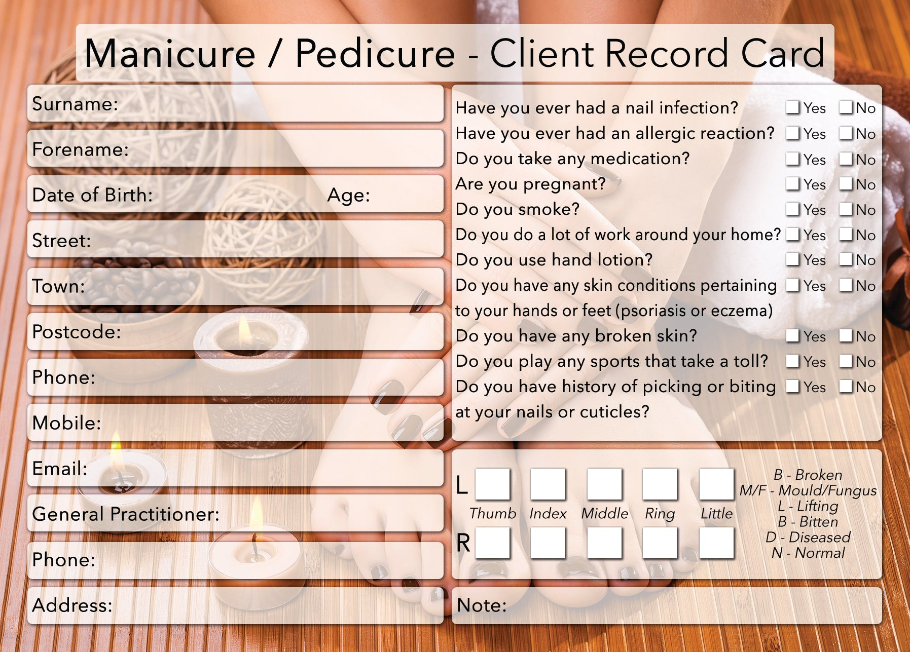 NEW Manicure Pedicure Client Card / Treatment Consultation Card / Photo Background