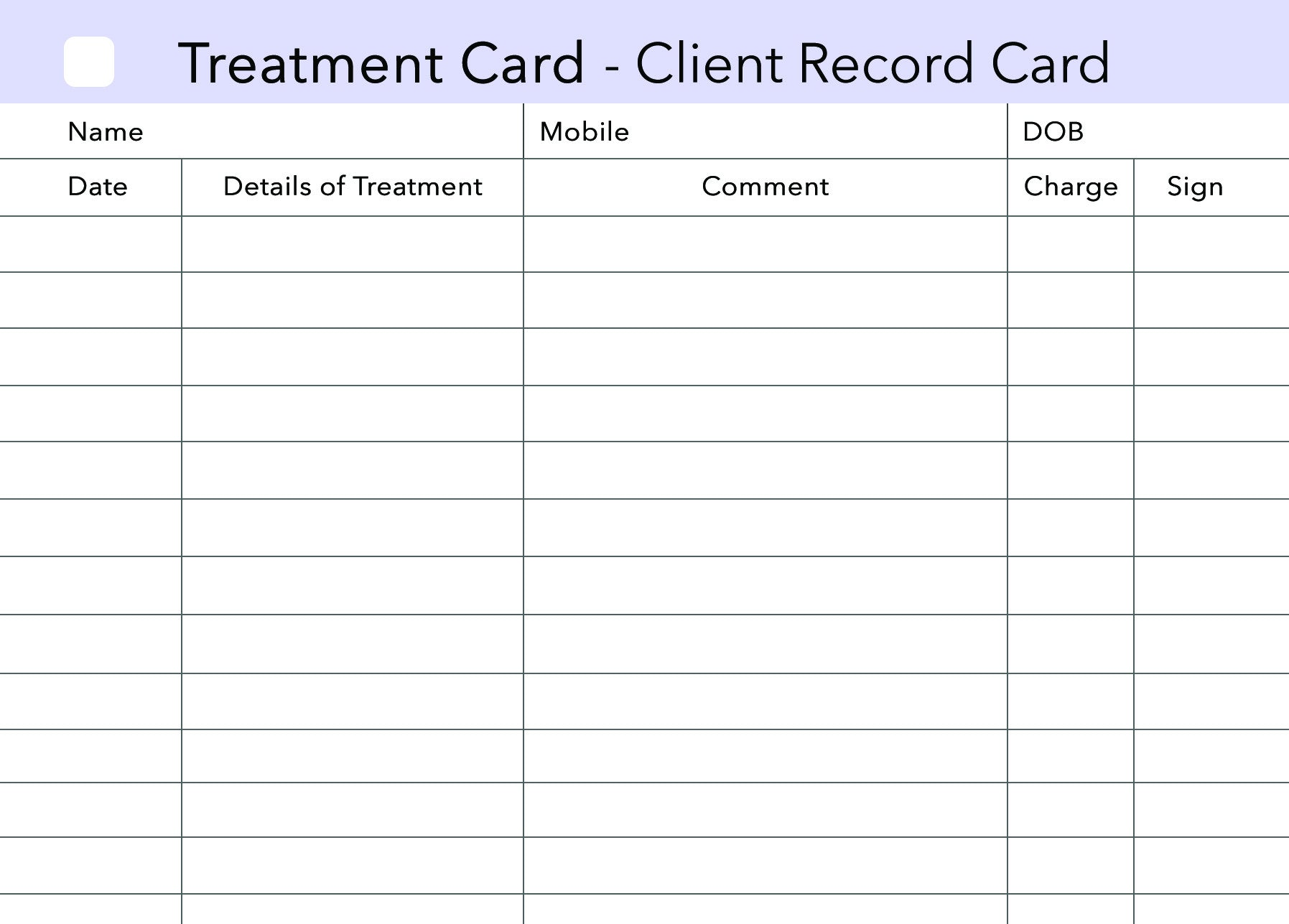 Client Record Card Template Free Demirediffusion