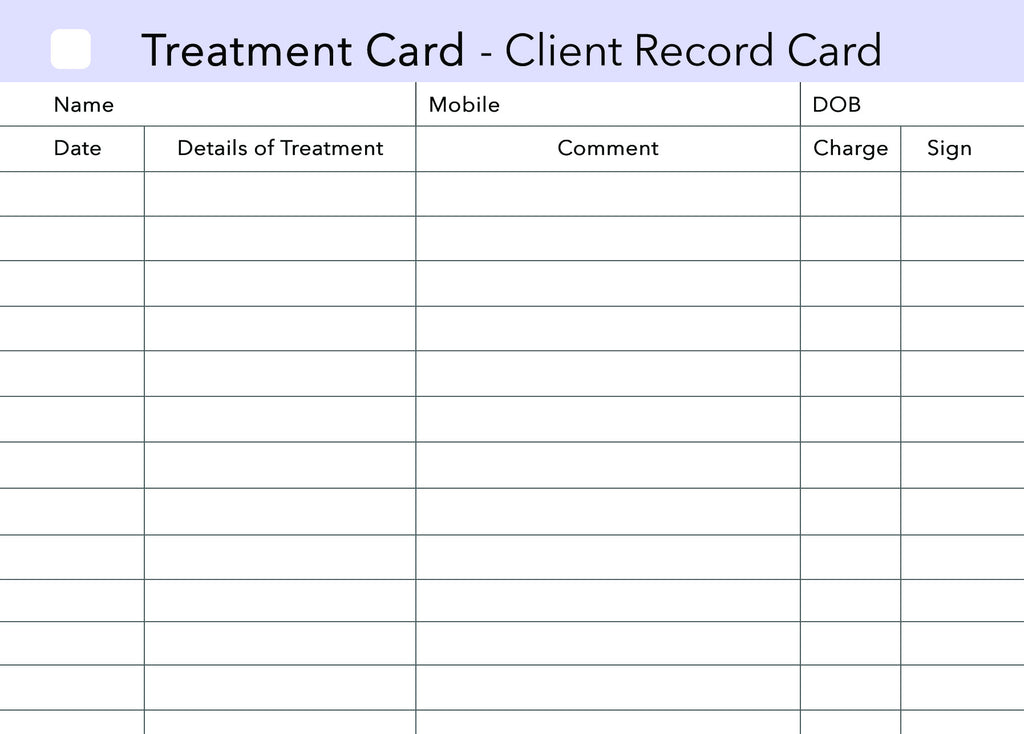 Additional Treatment Client Record Card