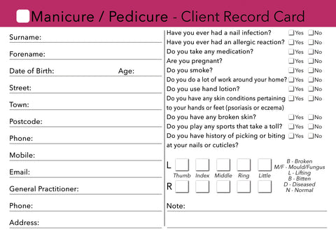 Nail Manicure Pedicure Client Card / Treatment Consultation Card