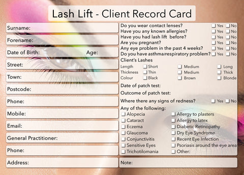 NEW Lash Lift Client Card / Treatment Consultation Card / Photo Background
