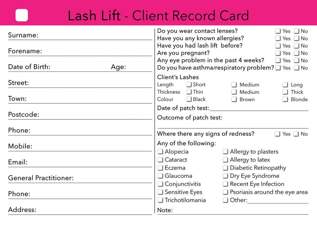 Lash Lift Client Card / Treatment Consultation Card
