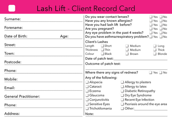Lash Lift Client Card / Treatment Consultation Card ...