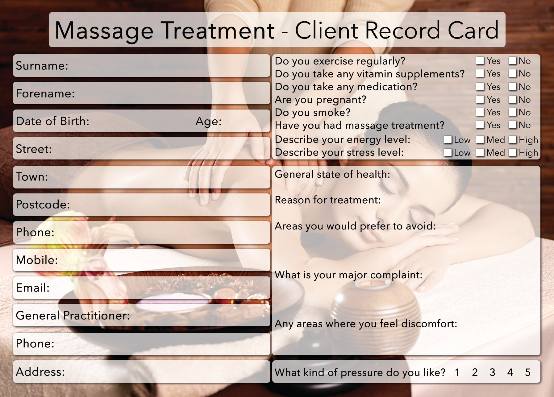 new massage client card treatment consultation card