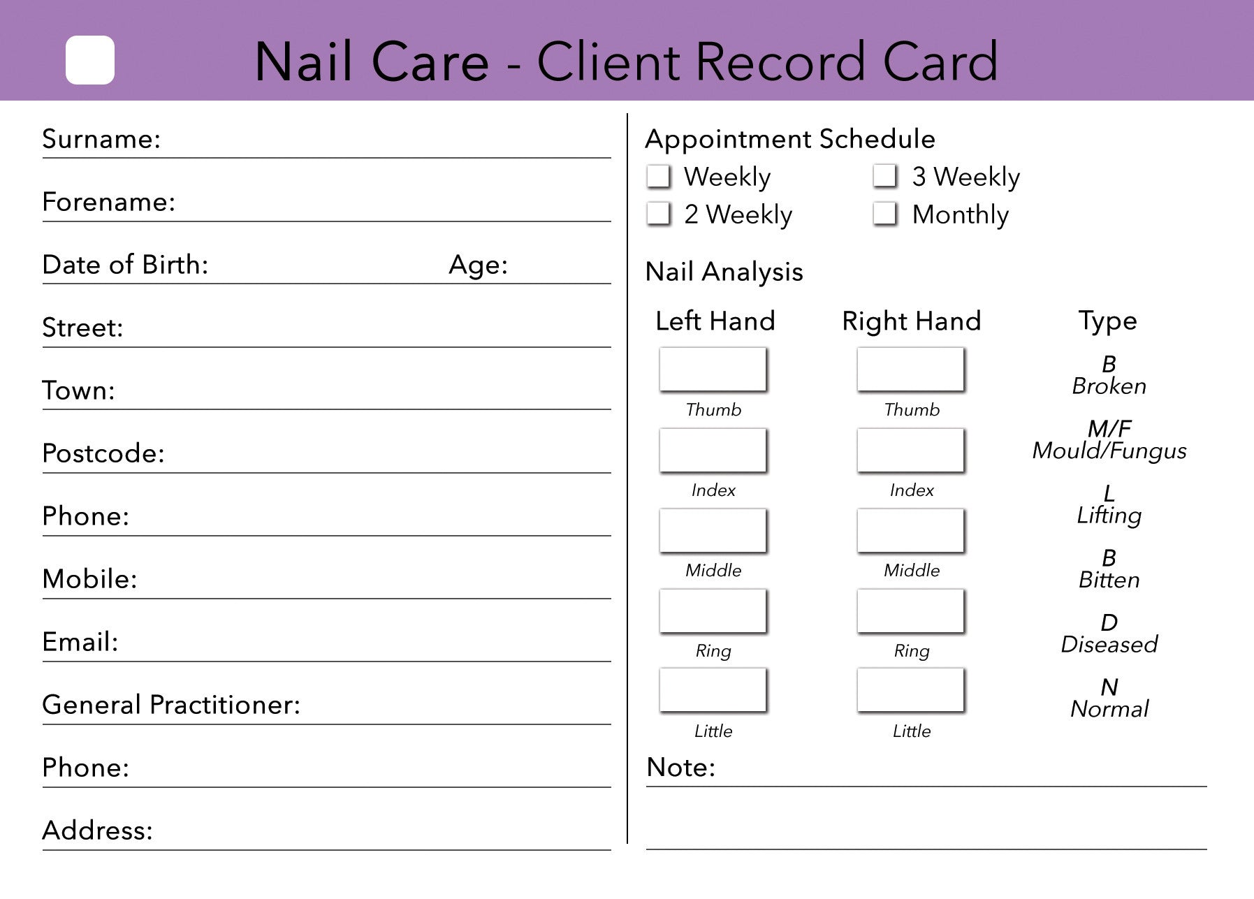 Nail Care Client Card Treatment Consultation Card Beauty
