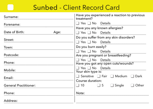 sunbed client card