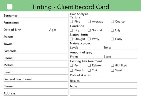 tinting client card