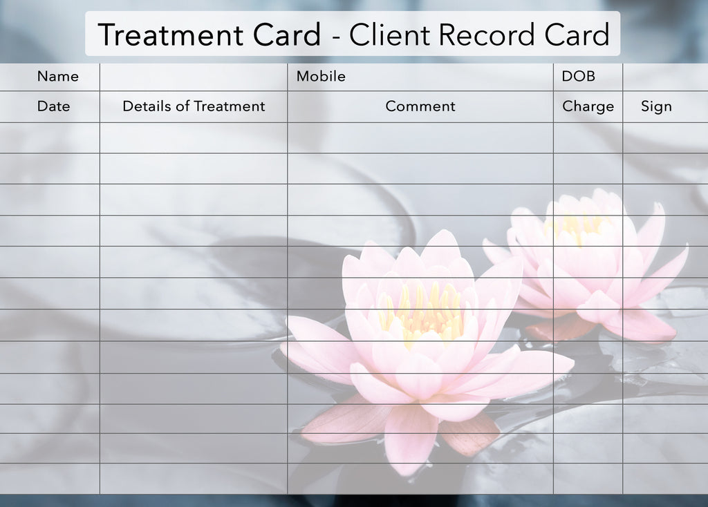 NEW Additional Treatment Client Card / Treatment Consultation Card / Photo Background