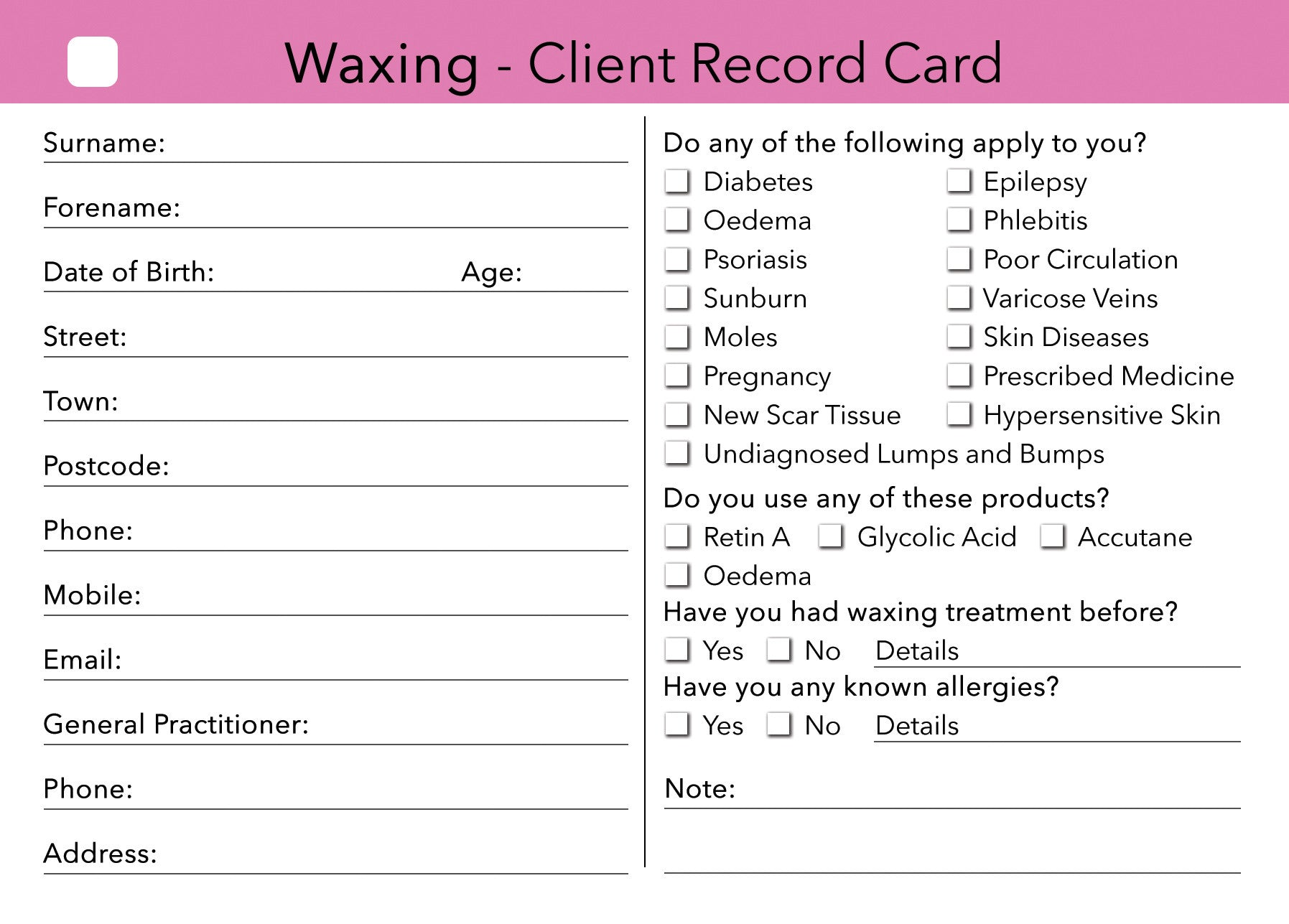 Waxing Client Card Treatment Consultation Card Beauty Stationery