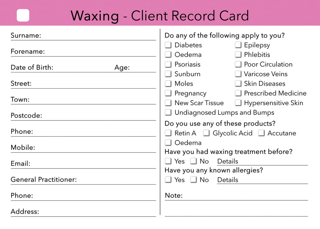 waxing client card
