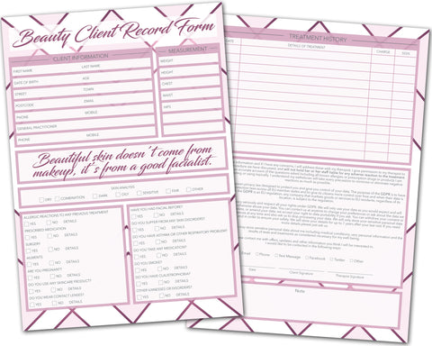 Beauty Client Card / A5 Large Consultation Card Form / GDPR Compliant