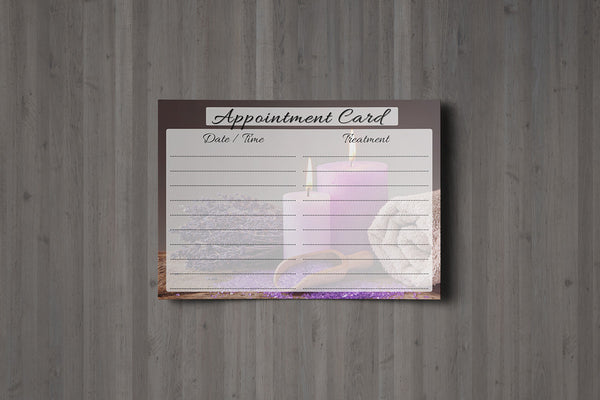 Appointment Card for Beauty Salons, Therapists, Spa