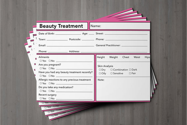 Beauty Client Card Premium Paper - GDPR Compliant