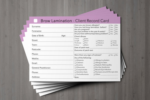 Brow Lamination Client Card / Treatment Consultation Card
